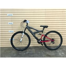 RED AND GREY NO NAME FULL SUSPENSION MOUNTAIN BIKE