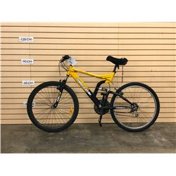 YELLOW SUPERCYCLE MENACE FULL SUSPENSION MOUNTAIN BIKE