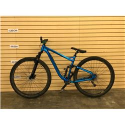 BLUE NO NAME FULL SUSPENSION MOUNTAIN BIKE, NO BRAKES