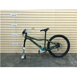 GREEN KONA CLUMP FRONT SUSPENSION MOUNTAIN BIKE WITH FRONT AND REAR HYDRAULIC DISC BRAKES, NO FRONT