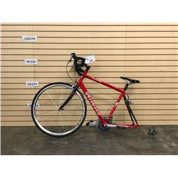 RED SPECIALIZED ROUBAIX ROAD BIKE, NO REAR WHEEL