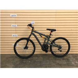 GREY NO NAME FULL SUSPENSION MOUNTAIN BIKE WITH FRONT DISC BRAKES