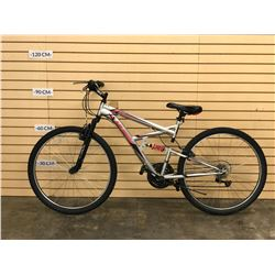 GREY AND PINK HUFFY FULL SUSPENSION MOUNTAIN BIKE