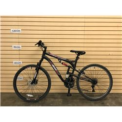BLACK WICKED FUGITIVE FULL SUSPENSION MOUNTAIN BIKE WITH FRONT DISC BRAKE