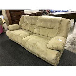BEIGE 3 SEAT TUFTED RECLINER SOFA