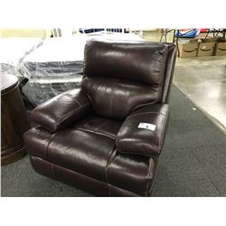 BROWN TUFTED LEATHER ELECTRIC RECLINING ROCKER ARM CHAIR, MISSING POWER ADAPTER