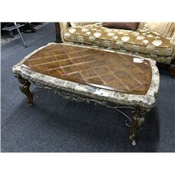 MARBLE AND CHERRY INLAID TRADITIONAL STYLE COFFEE AND END TABLE SET