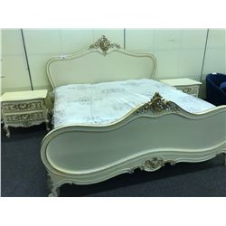 CREAM WITH SILVER AND GOLD ACCENT TRADITIONAL STYLE KING SIZE BED WITH PAIR OF MATCHING NIGHT