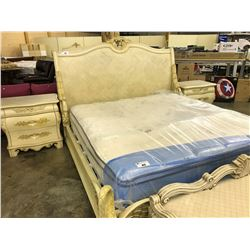 KING SIZE MAPLE TRADITIONAL DESIGN BED FRAME WITH MATCHING DRESSER, HIGH BOY AND PAIR OF NIGHT