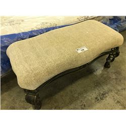 BEIGE METAL FRAME TRADITIONAL STYLE 4' PADDED BENCH