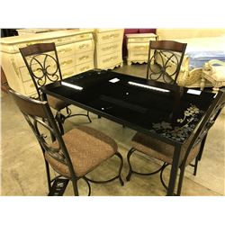 SMOKED GLASS TOP 4' X 2.5' DINING TABLE WITH SET OF 4 PADDED METAL FRAME CHAIRS