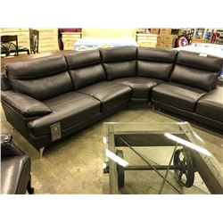 DARK BROWN LEATHER 5 SEAT SECTIONAL SOFA