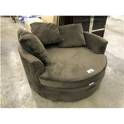 DARK BROWN CUDDLE COUCH WITH PILLOWS, SMALL TEAR ON FRONT EDGE