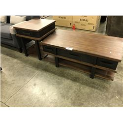 TRADITIONAL WALNUT LIFT TOP COFFEE TABLE WITH INTERIOR STORAGE AND MATCHING END TABLE