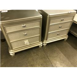 PAIR OF SILVER/GREY 3 DRAWER NIGHT STANDS