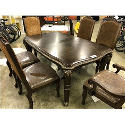 MAHOGANY HEAVILY CARVED 9' DINING TABLE SET WITH 6 TRADITIONAL PADDED DINING CHAIRS AND LEAF