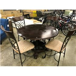 MAHOGANY 4' ROUND DINING TABLE WITH SET OF 4 PADDED DINING CHAIRS