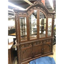 MAHOGANY HEAVILY CARVED 6' TRADITIONAL GLASS SHELF ARMOIRE AND HUTCH