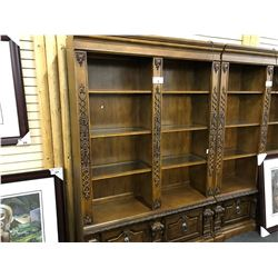 CHERRY TRADITIONAL STYLE 6.5' X 5' GLASS SHELF WALL UNIT