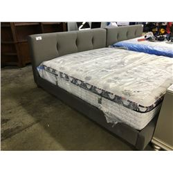 GREY KING SIZE TRANSITIONAL STYLE PADDED BED FRAME, MATTRESS NOT INCLUDED