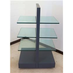Double-Sided Display Unit w/ 3 Shelves & Rolling Base 26  x 26  x 60 H