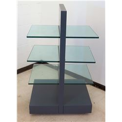 Double-Sided Display Unit w/ 3 Shelves & Rolling Base 26 x26 x 60 H