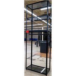 "Tall Metal 3-Tier Display Shelving Unit (with 4 glass shelving panels) 36"" x 18"" x 103""H"
