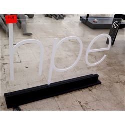 """Clear Sign """"hpe"""" White Letters on Black Base"""