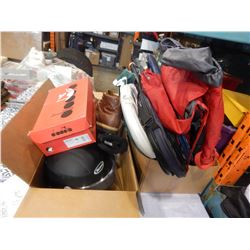 LOT OF BOOTS, HELMETS, HIKING PACK, AND SPORTS ITEMS