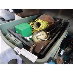 TOTE OF TOOLS, GAFF, AND ROPE