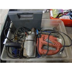 BIN OF POWER TOOLS, DRILL, JIGSAW, HAMMMER, AND HARDWARE