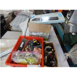 BOX OF ELECTRONICS AND DOG ITEMS