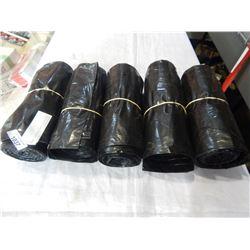 5 ROLLS OF BLACK GARBAGE BAGS