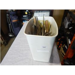 WHITE BIN W/ FILES AND HAND TOOLS