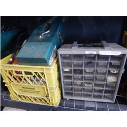YELLOW CRATE W/ TOOL BOX, FIRE EXTINGUISHER, BOLT ORGANIZER, ETC