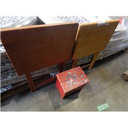 2 WOODEN FOLDING TV TRAYS AND SMALL SHOE SHINE BOX