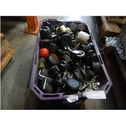 PURPLE TOTE OF CASTORS AND VARIOUS WHEELS