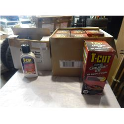 CASE OF 6 T-CUT CLAYBAR AUTO DETAILING KITS AND 6 JUGS T-CUT COLOUR FAST