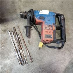 DYNADRILL JACK HAMMER AND 5 CONCRETE DRILL BITS