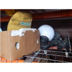 BOX OF TROUBLE LIGHT, EXTENSION CORD AND 2 OUTDOOR WALL SCONCES