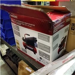 HUSKY 2 GALLON OIL FREE COMPRESSOR AND BRAD NAILER KIT