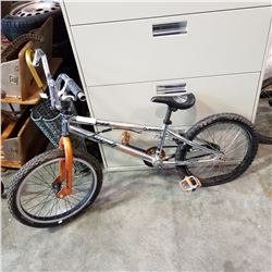 SILVER AND ORANGE AVIGO BMX BIKE