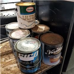 7 PAILS OF FINISH AND PAINT