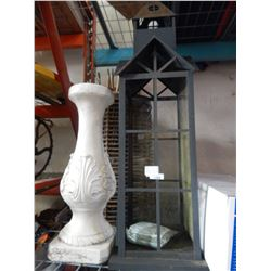 DECORATIVE STICK PLANTERS AND CEMENT PILLAR AND METAL LANTERN DECORATION