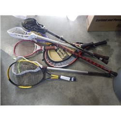 LOT OF LACROSSE STICKS AND TENNIS RACQUETS