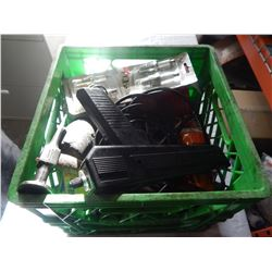 CRATE OF SHOP SUPPLIES INCLUDING SPARK PLUGS AND TIMING LIGHT