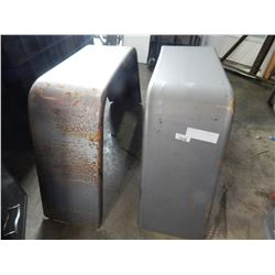 PAIR OF STEEL TRAILER FENDERS - APPROX 10 INCHES WIDE BY 19 INCHES TALL