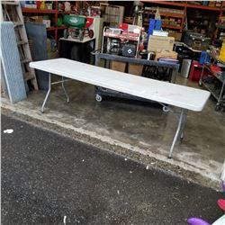 PLASTIC 8FT MARKET TABLE W/ FOLDING LEGS