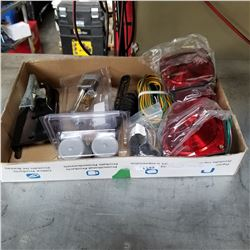 TRAY OF NEW TRAILER LIGHTS, WIRING, LOCK, COUPLER, AND ACCESSORIES
