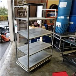 STAINLESS 4 TIER ROLLING SHELF